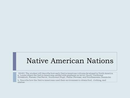 Native American Nations SS4H1 The student will describe how early Native American cultures developed in North America. a. Locate where the Native Americans.