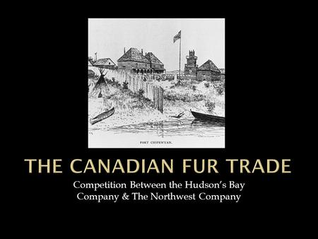 Competition Between the Hudson's Bay Company & The Northwest Company.