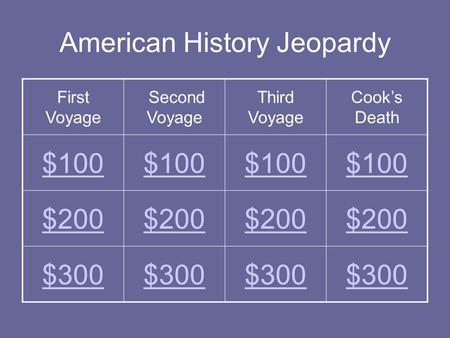 American History Jeopardy First Voyage Second Voyage Third Voyage Cook's Death $100 $200 $300.