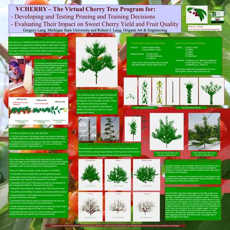 VCHERRY – The Virtual Cherry Tree Program for: - Developing and Testing Pruning and Training Decisions - Evaluating Their Impact on Sweet Cherry Yield.