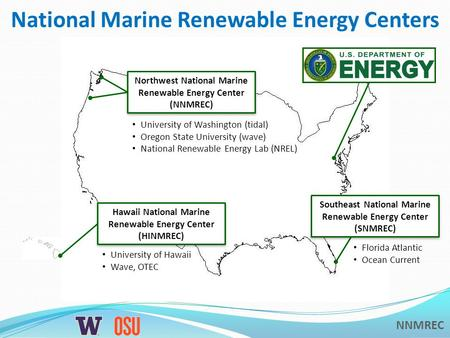 NNMREC National Marine Renewable Energy Centers Hawaii National Marine Renewable Energy Center (HINMREC) University of Hawaii Wave, OTEC Southeast National.