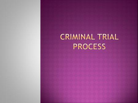  Trial procedures in Canada are based on the ADVERSARIAL SYSTEM – two opposing sides- the Crown and Defence.  There are many key players in a trial: