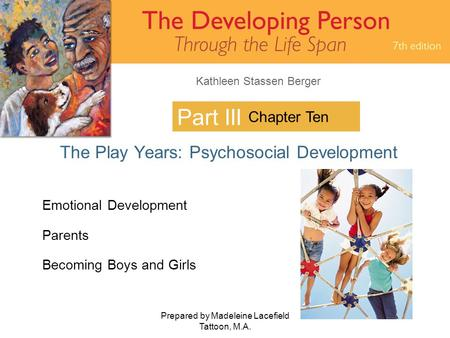 Kathleen Stassen Berger Prepared by Madeleine Lacefield Tattoon, M.A. 1 Part III The Play Years: Psychosocial Development Chapter Ten Emotional Development.