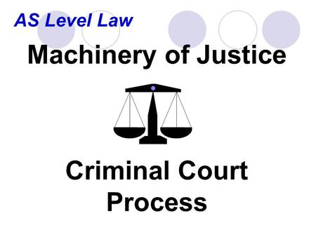 AS Level Law Machinery of Justice Criminal Court Process.