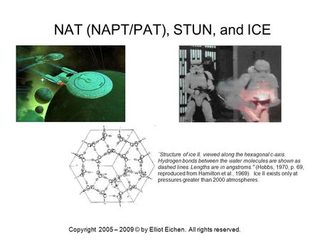 Copyright 2005 – 2009 © by Elliot Eichen. All rights reserved. NAT (NAPT/PAT), STUN, and ICE `Structure of ice II, viewed along the hexagonal c-axis. Hydrogen.