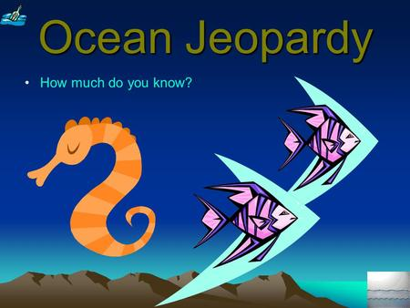 Ocean Jeopardy How much do you know? 100 300 200 400 300 500 400 500 400 300 200 The Great Whales Survival in The Sea VenomSharks Mountain in The Sea.