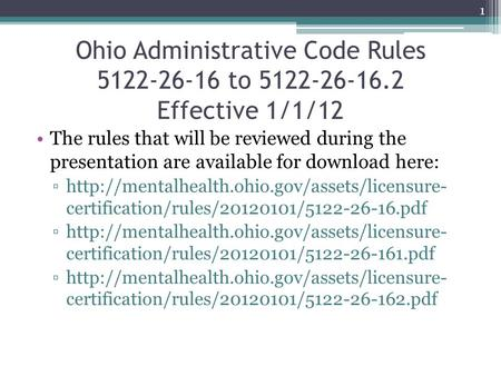Ohio Administrative Code Rules to