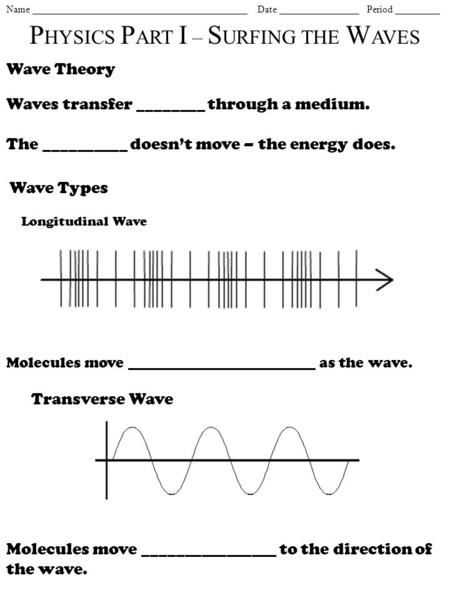Name ___________________________________________ Date ________________ Period _________ P HYSICS P ART I – S URFING THE W AVES Wave Theory Waves transfer.