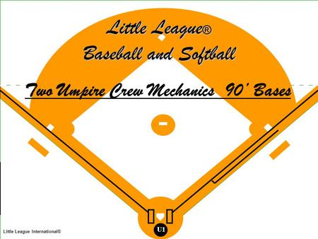 Legend Umpire Base Runner Batter Runner Batted Ball Thrown Ball Fielder Little League International® U1 Little League ® Baseball and Softball Two Umpire.
