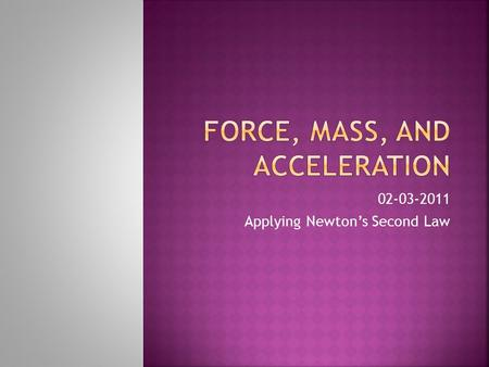 02-03-2011 Applying Newton's Second Law.  Today's objective is to apply what we know about acceleration and mass to calculating Net Force. Lets Review...