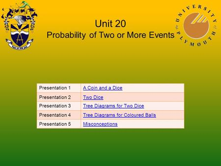 Unit 20 Probability of Two or More Events Presentation 1A Coin and a Dice Presentation 2Two Dice Presentation 3Tree Diagrams for Two Dice Presentation.