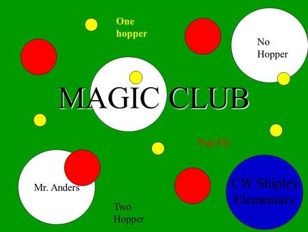 MAGIC CLUB CW Shipley Elementary Mr. Anders One hopper No Hopper Pop Fly Two Hopper.