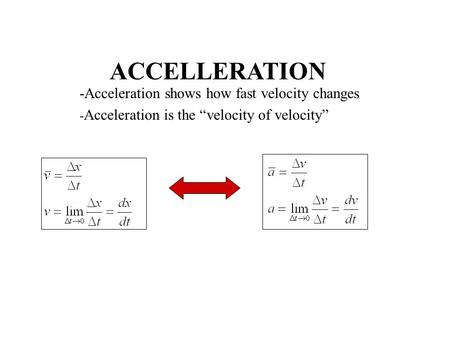 "ACCELLERATION -Acceleration shows how fast velocity changes - Acceleration is the ""velocity of velocity"""