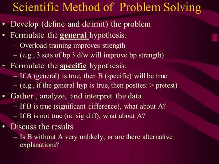 Scientific Method of Problem Solving