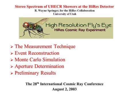 Stereo Spectrum of UHECR Showers at the HiRes Detector  The Measurement Technique  Event Reconstruction  Monte Carlo Simulation  Aperture Determination.