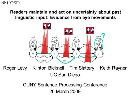 Readers maintain and act on uncertainty about past linguistic input: Evidence from eye movements Roger Levy Klinton Bicknell Tim Slattery Keith Rayner.