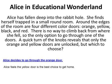 Alice in Educational Wonderland Alice has fallen deep into the rabbit hole. She finds herself trapped in a small round room. Around the edges of the room.
