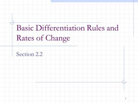 1 Basic Differentiation Rules and Rates of Change Section 2.2.