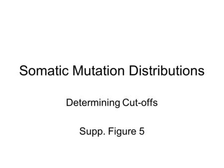 Somatic Mutation Distributions Determining Cut-offs Supp. Figure 5.