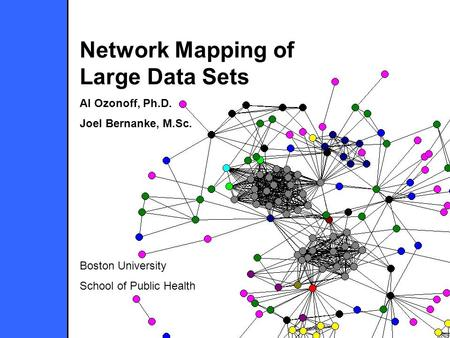 Network Mapping of Large Data Sets Al Ozonoff, Ph.D. Joel Bernanke, M.Sc. Boston University School of Public Health.