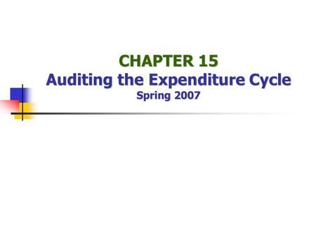 CHAPTER 15 Auditing the Expenditure Cycle Spring 2007.