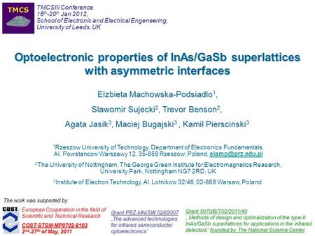 3 Institute of Electron Technology, Al. Lotnikow 32/46, 02-668 Warsaw, Poland Optoelectronic properties of InAs/GaSb superlattices with asymmetric interfaces.