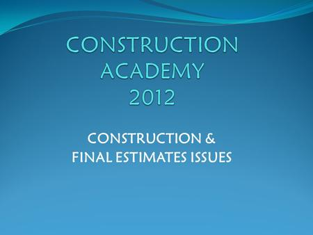 CONSTRUCTION & FINAL ESTIMATES ISSUES. Final Estimates Issues  Prep & Doc Manual-Updates  Review & Admin Manual-Updates  Other Final Estimates Issues.