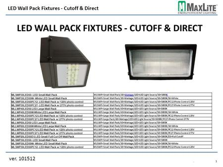 ENERGY EFFICIENT LIGHTING LED WALL PACK FIXTURES - CUTOFF & DIRECT ver. 101512 LED Wall Pack Fixtures - Cutoff & Direct.1.1 MLSWP30LED50- LED Small Wall.