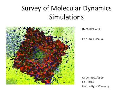 Survey of Molecular Dynamics Simulations By Will Welch For Jan Kubelka CHEM 4560/5560 Fall, 2014 University of Wyoming.