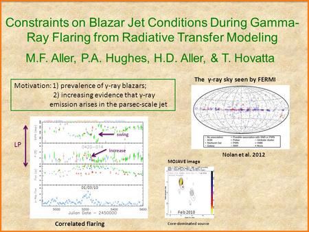 Constraints on Blazar Jet Conditions During Gamma- Ray Flaring from Radiative Transfer Modeling M.F. Aller, P.A. Hughes, H.D. Aller, & T. Hovatta The γ-ray.