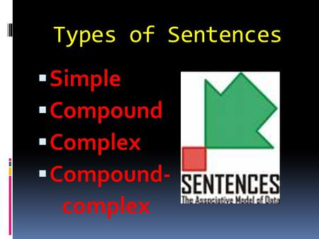 Types of Sentences  Simple  Compound  Complex  Compound- complex.