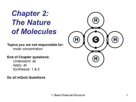 1- Basic Molecular Structure1 Chapter 2: The Nature of Molecules Topics you are not responsible for: molar concentration End of Chapter questions: Understand:
