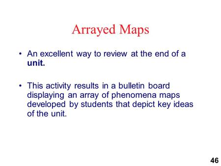 Arrayed Maps An excellent way to review at the end of a unit. This activity results in a bulletin board displaying an array of phenomena maps developed.