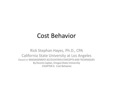cost behaviors and allocations essay Definition of indirect cost: an expense (such as for advertising, computing, maintenance, security, supervision) incurred in joint usage and, therefore.