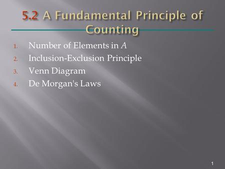 1. Number of Elements in A 2. Inclusion-Exclusion Principle 3. Venn Diagram 4. De Morgan's Laws 1.