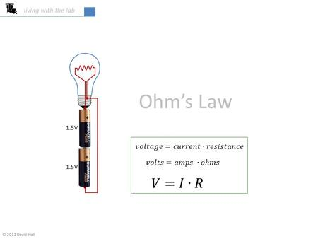 College of Engineering & Science living with the lab Ohm's Law © 2012 David Hall 1.5V.