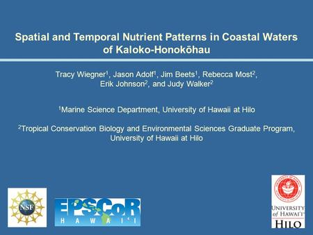 Spatial and Temporal Nutrient Patterns in Coastal Waters of Kaloko-Honokōhau Tracy Wiegner 1, Jason Adolf 1, Jim Beets 1, Rebecca Most 2, Erik Johnson.