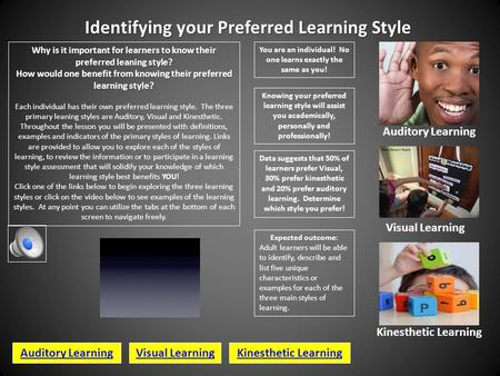 Identifying your Preferred Learning Style Why is it important for learners to know their preferred leaning style? How would one benefit from knowing their.