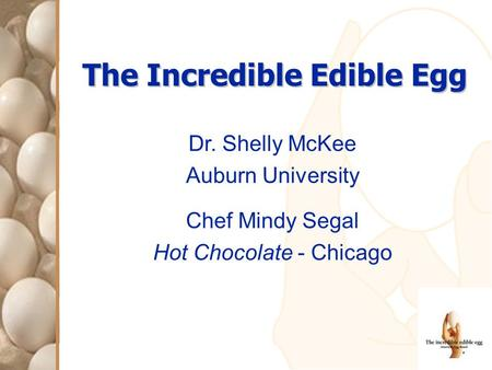 The Incredible Edible Egg Dr. Shelly McKee Auburn University Chef Mindy Segal Hot Chocolate - Chicago.