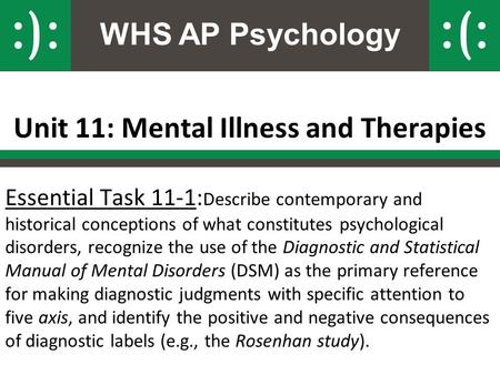 WHS AP Psychology Unit 11: Mental Illness and Therapies Essential Task 11-1: Describe contemporary and historical conceptions of what constitutes psychological.