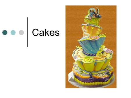 "Cakes. 2 classes of cakes Shortened Cakes: Also called ""butter cakes"" Contain fat Solid fat: butter, margarine or vegetable shortening. Liquid fat: oil."