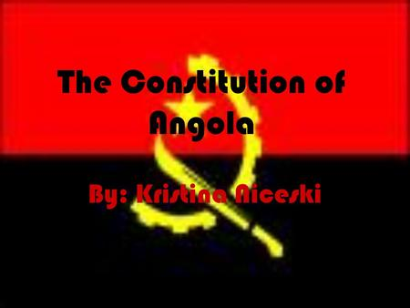 "The Constitution of Angola By: Kristina Niceski. Some Insight ""I said to them, 'Could it be that there are no laws in this country? You are police. You."