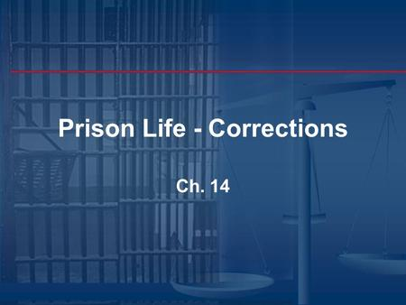 Prison Life - Corrections Ch. 14 Chapter 14 Highlights Male Inmate's World P rison Argot I nmate Types Female Inmate's World Staff World C orrectional.