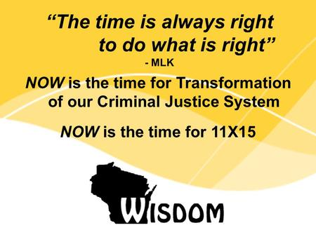 "NOW is the time for Transformation of our Criminal Justice System NOW is the time for 11X15 ""The time is always right to do what is right"" - MLK."
