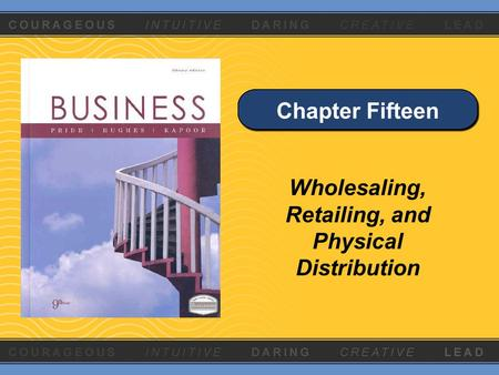 Chapter Fifteen Wholesaling, Retailing, and Physical Distribution.
