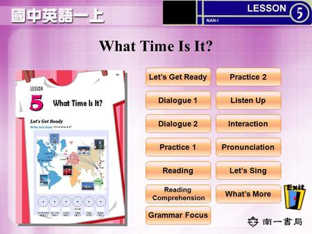 What Time Is It? Let's Get Ready Dialogue 1 Dialogue 2 Practice 1 Reading Practice 2 Listen Up Interaction Pronunciation Let's Sing What's More Grammar.