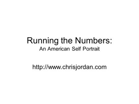 Running the Numbers: An American Self Portrait