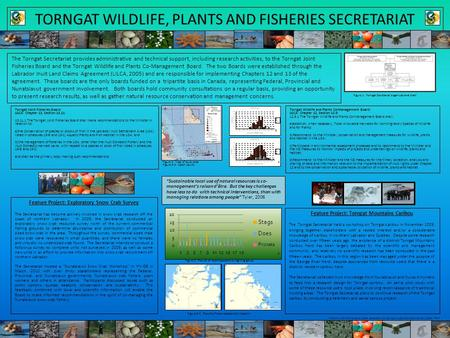 TORNGAT WILDLIFE, PLANTS AND FISHERIES SECRETARIAT The Torngat Secretariat provides administrative and technical support, including research activities,