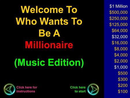 Welcome To Who Wants To Be A Millionaire (Music Edition) $1 Million $500,000 $250,000 $125,000 $64,000 $32,000 $16,000 $8,000 $4,000 $2,000 $1,000 $500.