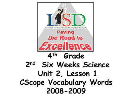 4 th Grade 2 nd Six Weeks Science Unit 2, Lesson 1 CScope Vocabulary Words 2008-2009.